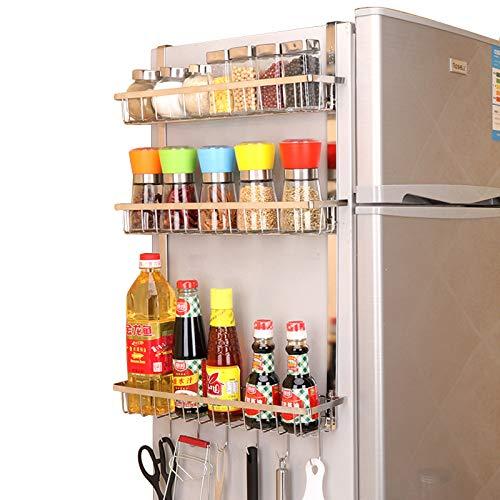 GHQME Edelstahl Hängeregal Kühlschrank Regal Gewürzregal mit 3 Ablagekörben, Hängend Küche Kühlschrank Organizer Küchenregal Aufbewahrung (Silber, 3 Etagen)