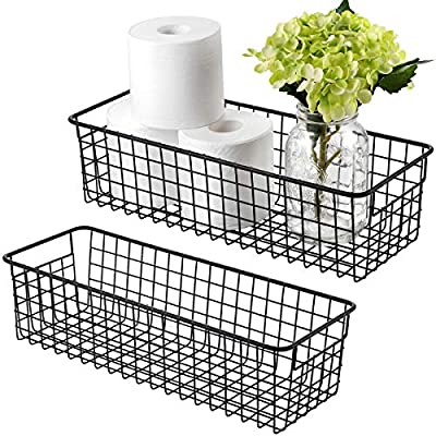 Farmhouse Decor Metal Wire Storage Organizer Bin Basket(2 Pack) - Rustic Toilet Paper Holder - Home Storage Organizer for Bathroom, kitchen cabinets,Pantry, Laundry Room, Closets, Garage (Black)