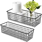 Farmhouse Decor Metal Wire Storage Organizer Bin Basket(2 Pack) - Rustic Toilet Paper Holder - Home Storage Organizer for Bathroom, kitchencabinets,Pantry, Laundry Room, Closets, Garage (Black)