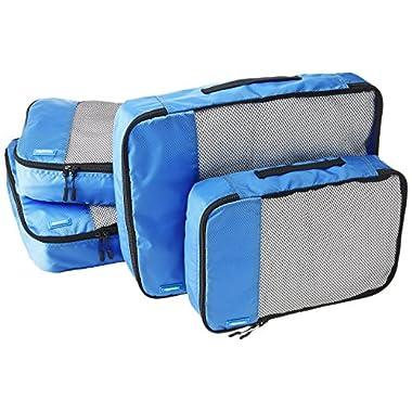 AmazonBasics 4-Piece Packing Cube Set - 2 Medium and 2 Large, Blue