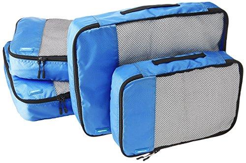 Amazon Basics Kleidertaschen-Set, 4-teilig, 2 mittelgroße und 2 große Kleidertaschen, Blau