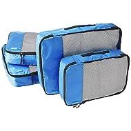 Amazon Basics 4 Piece Packing Travel Organizer Cubes Set - 2 Medium and 2 Large, Blue