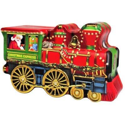 Windel Candy Metal Santa's Zug mit geprägten Verzierungen mit Pralinen aus Vollmilchschokolade - 1 x 123 Gramm