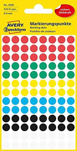 AVERY Zweckform 3090 selbstklebende Markierungspunkte 416 Stück (Ø8mm, Klebepunkte auf 4 Bogen, Punktaufkleber zur Farbcodierung, runde Aufkleber für Kalender, Planer und zum Basteln, Papier) bunt