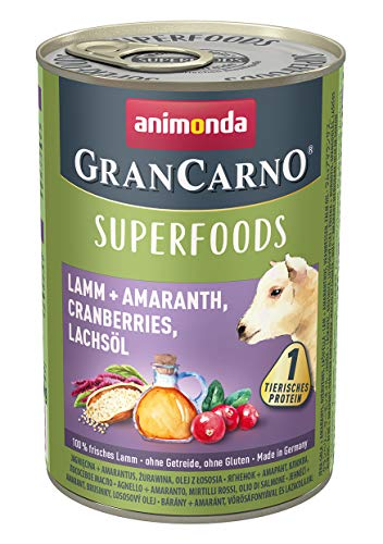 animonda Gran Carno adult Superfoods Hundefutter, Nassfutter für ausgewachsene Hunde, Lamm + Amaranth, Cranberries, Lachsöl, 6 x 400 g, 6er Pack (6 x 0.4 kilograms)