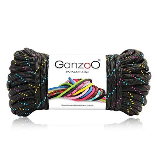 Ganzoo Paracord 550 Seil Glitter für Armband, Leine, Halsband, Nylon-Seil 30 Meter, Farbe: schwarz-bunt