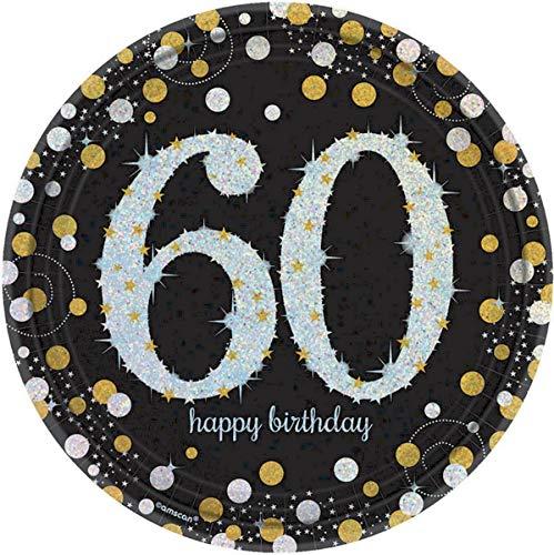 Amscan Sparkling Celebration '60' Round Prismatic Plates, 9', 8 pcs, Birthday