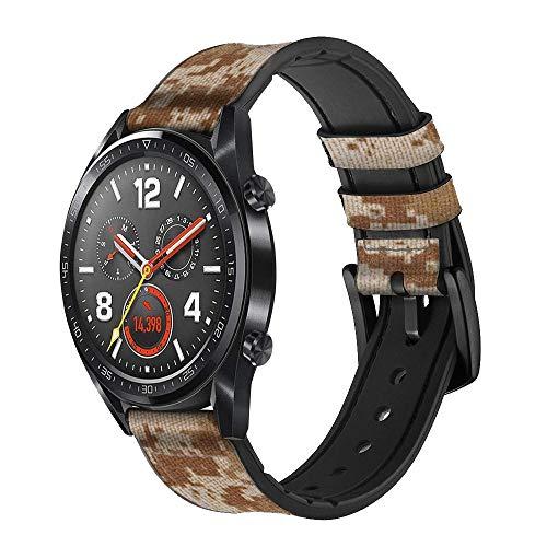 Innovedesire Desert Digital Camo Camouflage Correa de Reloj Inteligente de Cuero y Silicona para Wristwatch Smartwatch Smart Watch Tamaño (22mm)