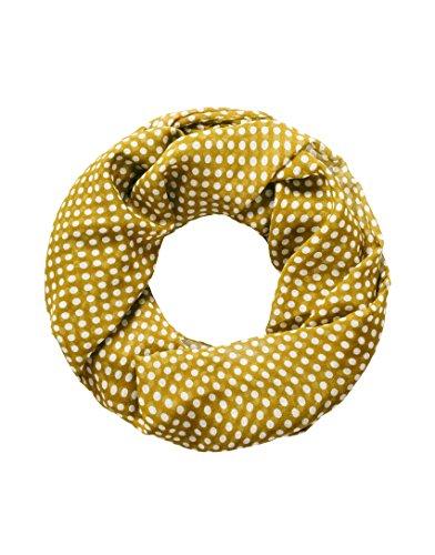 Vincenzo Boretti foulard-écharpe tube femme, design élegant, toucher doux - dessin points polka à la mode, bicolore jaune