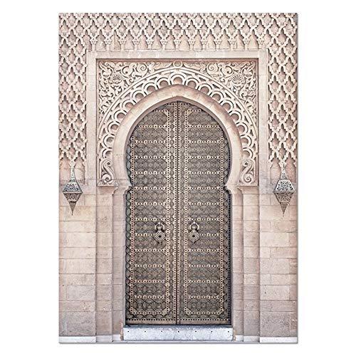SJZS Pinturas Decorativas Puerta marroquí Arte Pared del Oro Corán árabe de la caligrafía Jadear Lienzo Arquitectura islámica impresión del Cartel de Cuadros de la Pared de la decoración de Boho