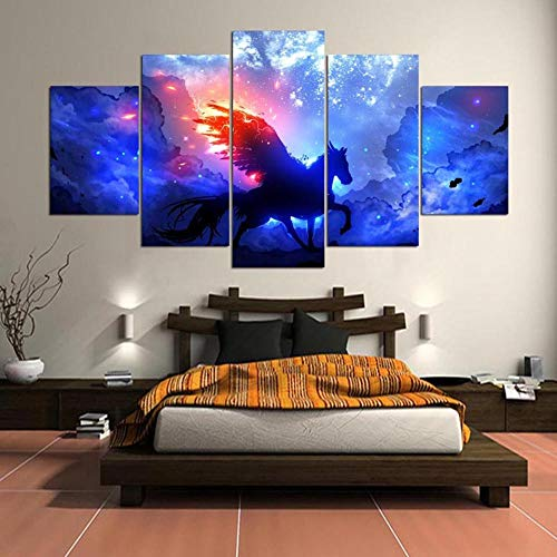 Wall Art Painting Hd Printed 5 Panel Starry Sky Horse Landscape Canvas Poster Home Decor Living Room Modular Pictures-with Frame