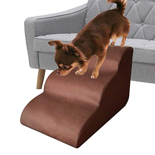 N/K Dog Stairs Ladder, Pet Stairs Step, 3 Steps Stairs Pet Bed Steps, Small Dog Cats Removable Non-Slip Ramp Climbing Stair, Lightweight Pet Step Sofa Bed Ladder for Dog Cats Boat