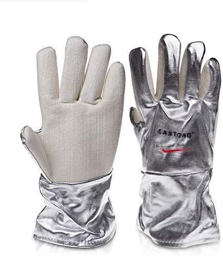 ZFZ Handschuh, Handschuhe, Handschuh, Verbrühschutz Handschuhe, isolierte Handschuhe, Hochtemperaturbeständige Aluminium Foil Handschuhe, Five Finger Eindickung, 300-400 Grad