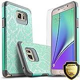 Galaxy Note 5Fall, starshop [Stoßdämpfung] Dual Schichten Impact Advanced Schutzhülle mit [Premium HD Bildschirmschutzfolie enthalten] für Samsung Galaxy Note 5, Teal Lace