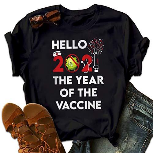 Hello 2021 The Year of The Vaccine Coronavirus Nurse T-Shirt Christmas Tshirt for Family Hoodie Long Sleeve Sweatshirt Sweater Tank Top