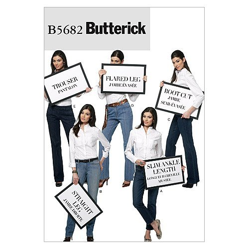 BUTTERICK PATTERNS B5682 Misses' Jeans and Trousers, Size FF (16-18-20-22)