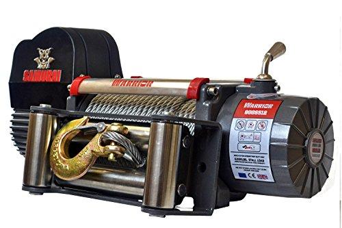 Seilwinde elektrisch 12V mit Funk (Funkfernbedienung) 3,6t Warrior Samurai S 8000 Stahlseil – Winde für Anhänger, Auto & PKW