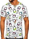 BOLF Hombre Camiseta de Manga Corta T-Shirt Escote Redondo Estampada Crew Neck Básico Entrenamiento Deporte Print Ocio Outdoor Logo Regular Estilo Diario 14934 Blanco XXL [3C3]