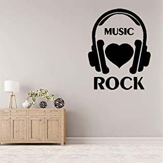 Vinyl Removable Wall Stickers Mural Decal Art Family Decals I Love Rock Music Headphones Rock`N`Roll