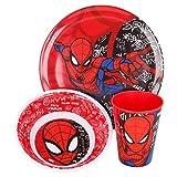 Spiderman   Set Vajilla de Melamina Infantil - Resistente I Servicio de Mesa Libre de BPA para niños y bebés - 3 Piezas: Vaso de Beber, Plato y Cuenco