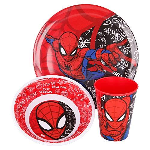 Spiderman | Set Vajilla de Melamina Infantil - Resistente I Servicio de Mesa Libre de BPA para niños y bebés - 3 Piezas: Vaso de Beber, Plato y Cuenco