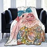 PARROT BEEK Pig blanket Fleece Blankets Cozy Warm Throw Blanket Suitable for All Living Rooms/Bedrooms 50'x40'