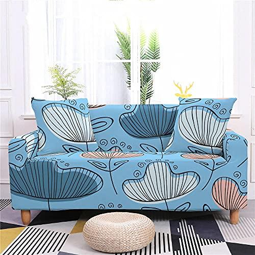 Funda Sofa 1 Plaza Planta Azul Fundas para Sofa con Diseño Elegante Universal,Cubre Sofa Ajustables,Fundas Sofa Elasticas,Funda de Sofa Chaise Longue,Protector Cubierta para Sofá