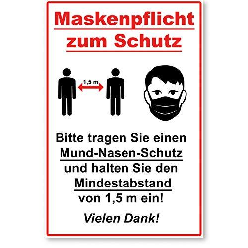 ENDJO Hinweisschild Maskenpflicht aus Kunststoff (Hartschaum) - inkl. Klebestreifen - Schild zu den Hygieneregeln - 30 x 20 cm, 3 mm stark