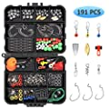 Vicloon Fishing Accessories Kit, 191 Pcs Fishing Tackle Box Set, Includes Fishing Hooks, Fishing Sinker Weights, Fishing Swivels Snaps, Sinker Slides and Fishing Beads for All Fishing Situations