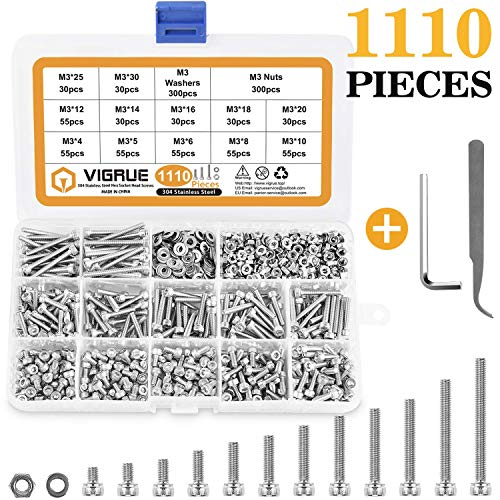 VIGRUE 1110PCS Stainless Steel M3 Socket Head Cap Screws and Nuts Flat Washer Assortment Kit with Allen Wrench and Tip Curved Tweezer