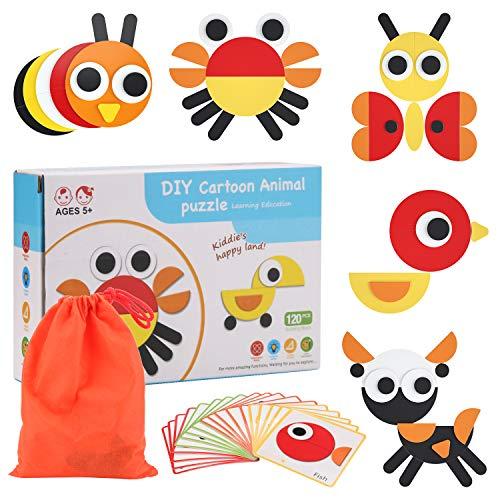 BBLIKE 120 Teilig Geometrische Formen Puzzle, Tiere Puzzle Tangram Montessori Lernspielzeug zum Sortieren und Stapeln von Spielen für Jungen und Mädchen ab 3 Jahren
