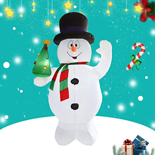 2.4Meters / 8 Feet Riesiger Aufblasbarer Schneemann Und Weihnachtsbaum, Glühend Weihnachtsaußendekoration Mit LED-Licht, Weihnachten Inflatables Spielzeug in Yard Garten