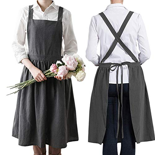 Damen Mädchen Schürze Leinenschürze Backen Kochen Gartenarbeiten Cross Back Schürzen Kleid,Grau