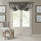 Elrene Home Fashions Versailles Faux Silk Room Darkening & Energy Efficient Lined Rod Pocket Window Curtain Drape Pleated Solid Waterfall Valance, 52' x 36' (1, Gray