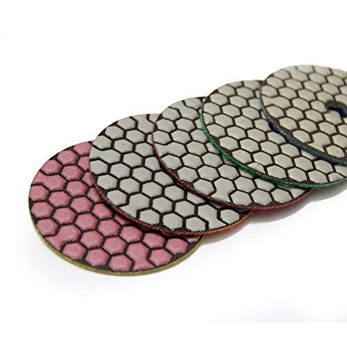 GIPOTIL 5 piezas 3 en 80 mm Disco abrasivo flexible de diamante seco Mable Renovación de pulido de piso de piedra de hormigón, Grano 500