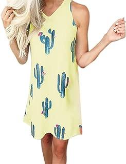 Women Cactus Print Dress - Ladies Causal Sleeveless Mini O Neck Summer T Shirt Dress