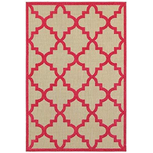 Style Haven Cara Mixed Pile Quatrafoil Lattice Indoor/Outdoor Area Rug Sand/Pink 7'10