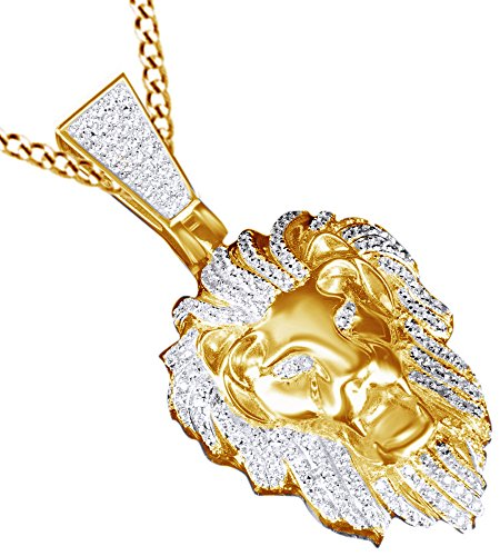 AFFY Cubic Zirconia 3D Lion Head Charm Pendant Necklace in 14K Yellow Gold Over Sterling Silver