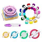 Telar de flores, juego de telares de tejer de 9 piezas Kits de artesanía de hilo de lana DIY Herramienta para calcetines Guantes Sombreros +4pcs pom pom maker + Hilo de 12 colores + 1pcs tijeras(D)