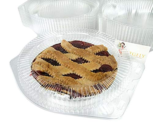 Katgely 9 Inch Plastic Pie Containers with Low Dome (Pack of 20)