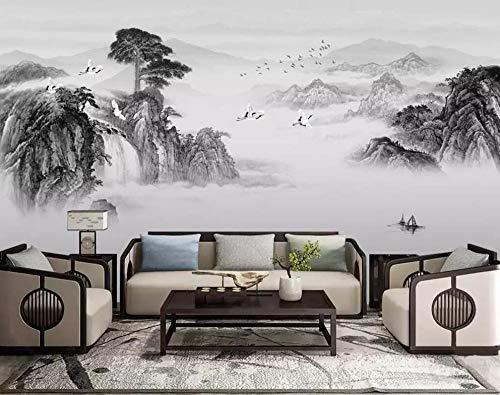3D Wallpaper Chinese muurschildering Inkt Landschap Waterval Welkome Dennen TV Achtergrond Muur Slaapkamer Nachtkastje Mural 430*300cm #004