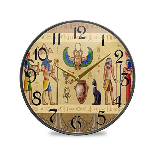 ART VVIES Reloj de Pared Redondo de 9,5 Pulgadas Que no Hace tictac silencioso Funciona con Pilas Oficina Cocina Dormitorio decoración del hogar-patrón Egipcio Antiguo