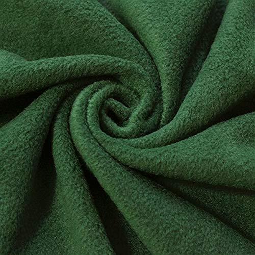 STOFFKONTOR Polar Fleece Stoff Meterware, Fleecestoff zum Nähen mit Antipilling Eigenschaften - Tannen-Grün