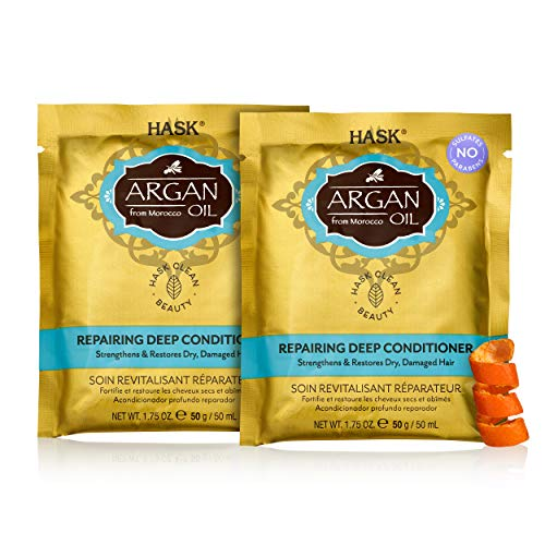 HASK ARGAN OIL Repairing Deep Conditioner Treatments for all hair types, color safe, gluten free, sulfate free, paraben free - Pack of 2