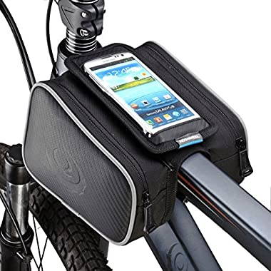ArcEnCiel Bike Frame Bag Bicycle Top Tube Pouch Waterproof Cell Phone Holder ≤ 5.7  Touch Screen (Double Pannier)