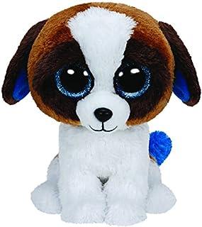 TY 36125–Duke perro con ojos, Glubschi 's, Beanie Boo' s, 15cm, color blanco/marrón
