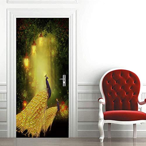 Modern Art - Adhesivo decorativo para puerta en 3D (95 x 215 cm), diseño de pavo real dorado