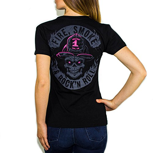Firefighter FIRE Smoke & Rock´N ROLL Dark Edition | Fein-Jersey Frauen T-Shirt Farbe Black, Größe:XL