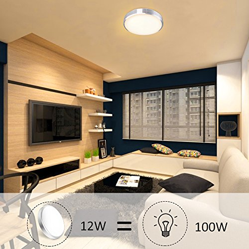 Ustellar 1000lm 12W LED Round Ceiling Lights Fixture Flush Mount,100W Incandescent Bulbs Equivalent, 10in 3000K Warm White Ceiling Lamp Indoor for Bathroom Living Room Hallway Office Bedroom Kitchen