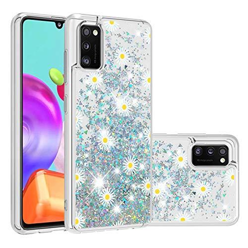 Miagon Flüssig Hülle für Samsung Galaxy A41,Glitzer Treibsand Handyhülle Glitter Quicksand Schutzhülle Bumper Case Cover,Chrysantheme